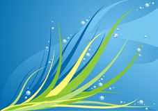 Green wisps illustration. Illustration of green wisps of grass or seaweed and water bubbles Royalty Free Stock Photo