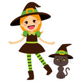 Green Witch and Cat Stock Images