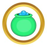 Green witch cauldron with potion vector icon Royalty Free Stock Photo