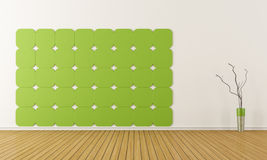 Green and withe room without furniture Stock Photo