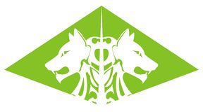 Green wolf pyramid Royalty Free Stock Images