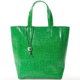 Green women bag isolated on white. Fashionable womens bag of green color on a white background Royalty Free Stock Images
