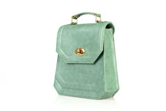 Green Women handbag isolated on white background Royalty Free Stock Photography