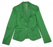 Green Women's jacket. Isolated object on a white background Stock Images