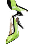 Green women shoes isolated on white background Royalty Free Stock Images