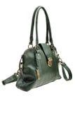 Green womens bag  on white background. Stock Photo