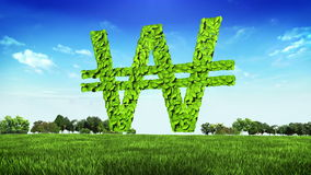 Green WON money, currency sign, made from leaves on the green ground (Included alpha) stock footage