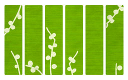 Green wood banners with Japanese branch print. Green wood banners with Japanese branch Stock Images