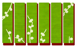 Green wood banners on red Royalty Free Stock Images
