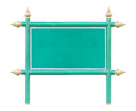 Green wood board sign with iron frame and Thai style golden apex Stock Photos