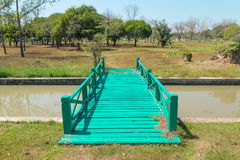 Green wood bridge Royalty Free Stock Images