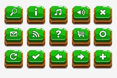 Green Wood buttons with different menu elements. Vector Wooden square Green buttons with different menu elements for web or game design royalty free illustration