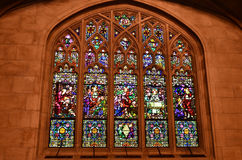 Green-Wood cemetery - chapel, Brooklyn, NY. Stained glass window in chapel, Green Wood cemetery, Brooklyn, New York Royalty Free Stock Photo