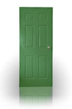 Green wood door. With shadow on white background Stock Photography