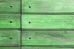Green wood and nails. Green wood texture background for design Stock Photo