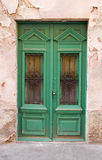 Green wood old door. Royalty Free Stock Photography