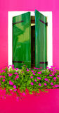 Green wood paint Window in Burano with bright pink color Stock Photography