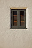 Green wood window stucco wall Vertical Royalty Free Stock Images