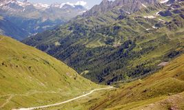 Green and wooded Alps. Green and wooded mountains in the Alps stock photography