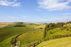 Wooded valley with road Royalty Free Stock Image
