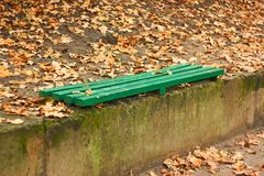 Green wooden bench among autumn leaves Stock Photos