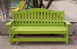 Green wooden bench Royalty Free Stock Photography
