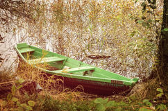 Green wooden boat Stock Image