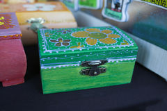 Green wooden box Stock Photo