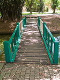 Green wooden bridge Royalty Free Stock Photography