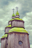 Green wooden domes of the Orthodox Church Royalty Free Stock Images