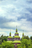 Green wooden domes of the Orthodox Churchg Stock Photography