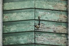 Green Wooden Door Stock Photo