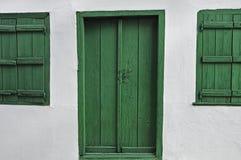 Green wooden door Royalty Free Stock Image