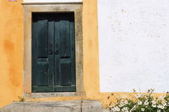 Green wooden door. And chamomile flower in Obidos, Portugal stock images