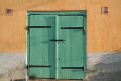 Green wooden door Royalty Free Stock Photography