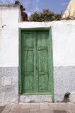 Green wooden door Stock Photos