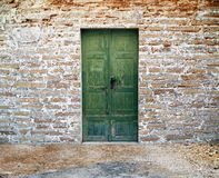 Green wooden door Stock Image