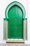 Green wooden door, islamic architecture. Royalty Free Stock Photos