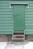 Green wooden door Royalty Free Stock Image