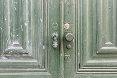 Green wooden door Royalty Free Stock Images
