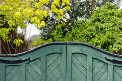 Green wooden gates Stock Photography