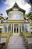 Green wooden house in Lodz Royalty Free Stock Photos