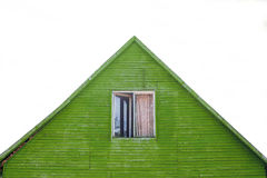 Green wooden house roof. With clear background Stock Photos