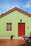 Green wooden hut of  Escaroupim, Portugal Stock Photo