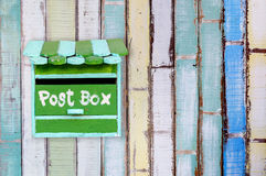 Green wooden mailbox Stock Photography