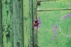 Green wooden panels. Ancient door Royalty Free Stock Image