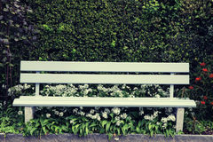 Green wooden park bench at the garden Stock Photography