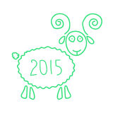 Green wooden sheep like symbol of 2015 year. Isolated on white background. sketch style modern vector illustration Royalty Free Stock Photography