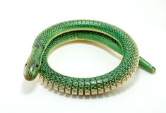 Green wooden snake. Toy for kids play Stock Photography