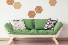Green wooden sofa royalty free stock photos
